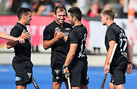 Blacksticks celebrate a Kane Russell goal during the Pro League Hockey match between the Blacksticks men and the Spain, Nga Punawai, Christchurch, New Zealand, Sunday 16 February 2020. Photo: Simon Watts/www.bwmedia.co.nz