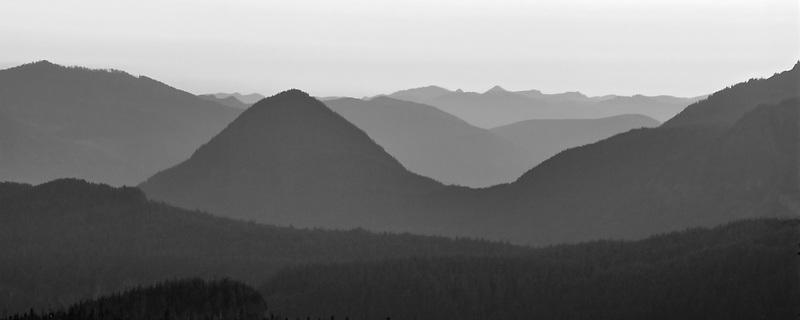 View from Mt. Rainier at sunset. Mt. Rainier National Park, Washington