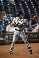Surprise Saguaros Brewer Hicklen (23), of the Kansas City Royals organization, on deck during an Arizona Fall League game against the Peoria Javelinas on September 22, 2019 at Peoria Sports Complex in Peoria, Arizona. Surprise defeated Peoria 2-1. (Zachary Lucy/Four Seam Images)
