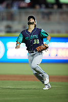 Lynchburg Hillcats first baseman Miguel Jerez (38) tracks a pop fly during the game against the Kannapolis Cannon Ballers at Atrium Health Ballpark on August 28, 2021 in Kannapolis, North Carolina. (Brian Westerholt/Four Seam Images)