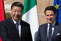 """Rome, 23/03/2019. The President of the People's Republic of China (General Secretary of the Communist Party of China, and Chairman of the Central Military Commission), Xi Jinping, meets the Italian Prime Minister Giuseppe Conte at Villa Madama during the second day of a three-day State visit to Italy. After the arrival of Xi Jinping greeted with the full honors at the splendid Renaissance Villa designed by Raffaello Sanzio, the Chinese delegation and the Italian delegation led by the Luigi Di Maio (Deputy Prime Minister, Minister of Economic development, Labour and Social Policies, and leader of the Five Star Movement) signed a memorandum of understanding - 29 separate protocols - supporting the """"Belt and Road"""" initiative (part of the """"New Silk Road Project"""") as the first of the Seven major economies in the world. Luigi Di Maio stated that """"the value of individual deals signed amounts to about 2,5 billion euros, with the potential to grow to about 20 billion euros""""."""