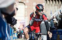 Greg Van Avermaet (BEL/BMC) returning from sign-on<br /> <br /> 107th Milano-Sanremo 2016