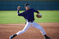 Esteban Nakashima (8) of Martin Luther King Jr High School in Riverside, California during the Baseball Factory All-America Pre-Season Tournament, powered by Under Armour, on January 14, 2018 at Sloan Park Complex in Mesa, Arizona.  (Art Foxall/Four Seam Images)