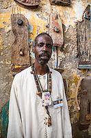 Artist Djibril Sagna in his Workshop, Biannual Arts Festival, Goree Island, Senegal.