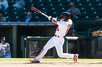 Surprise Saguaros shortstop Tommy Edman (18), of the St. Louis Cardinals organization, swings at a pitch during an Arizona Fall League game against the Peoria Javelinas at Surprise Stadium on October 17, 2018 in Surprise, Arizona. (Zachary Lucy/Four Seam Images)