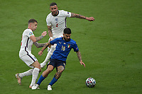 Kieran Trippier of England  , Lorenzo Insigne of Italy and Kyle Walker of England compete for the ball during the Uefa Euro 2020 Final football match between Italy and England at Wembley stadium in London (England), July 11th, 2021. Photo Andrea Staccioli / Insidefoto