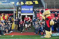 20121216 Copyright onEdition 2012©.Free for editorial use image, please credit: onEdition..Steve Borthwick of Saracens leads the team out before the Heineken Cup Round 4 match between Saracens and Munster Rugby at Vicarage Road on Sunday 16th December 2012 (Photo by Rob Munro)..For press contacts contact: Sam Feasey at brandRapport on M: +44 (0)7717 757114 E: SFeasey@brand-rapport.com..If you require a higher resolution image or you have any other onEdition photographic enquiries, please contact onEdition on 0845 900 2 900 or email info@onEdition.com.This image is copyright onEdition 2012©..This image has been supplied by onEdition and must be credited onEdition. The author is asserting his full Moral rights in relation to the publication of this image. Rights for onward transmission of any image or file is not granted or implied. Changing or deleting Copyright information is illegal as specified in the Copyright, Design and Patents Act 1988. If you are in any way unsure of your right to publish this image please contact onEdition on 0845 900 2 900 or email info@onEdition.com