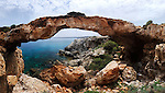 Kamara Tou Koraka panorama, Natural bridge. Cape Gkreko, Cyprus, the Mediterranean sea. Image © MaximImages, License at https://www.maximimages.com