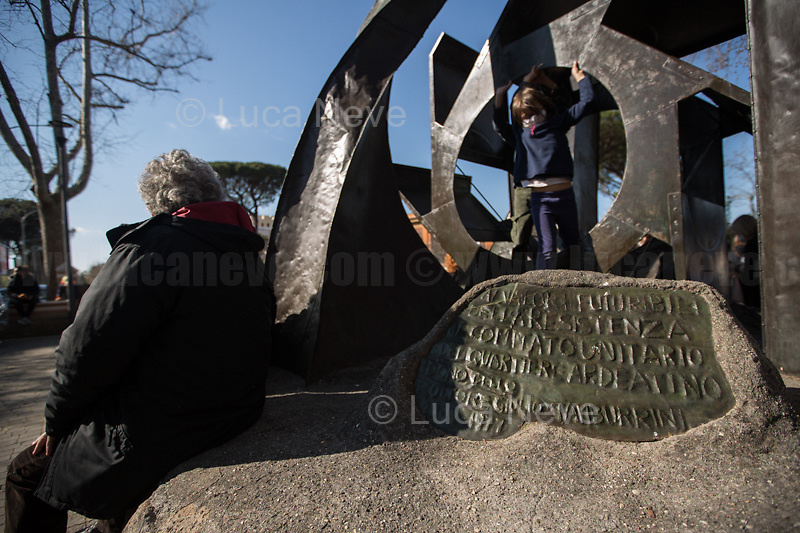 Rome, Italy. 24th Mar, 2021. Today, Citizens of Rome, Antifascists, various organizations, Institutions and the President of the Italian Republic, Sergio Mattarella, pay tribute to the victims of the Fosse Ardeatine massacre in which, 77 years ago, on the 24th March 1944, 335 people were assassinated by the nazi-fascist occupation troupes in Rome. It was one of the most atrocious massacre perpetrated during World War II for retaliation against the Resistance and the Civilians.    <br />