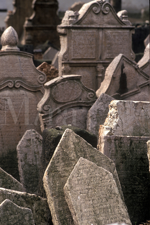 Tombstones in the old Jewish cemetery, Prague