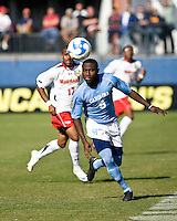 North Carolina defender Eddie Ababio (9) advances the ball.  Maryland Terrapins defeated North Carolina Tar Heels 1-0 to win the NCAA Men's College Cup at Pizza Hut Park in Frisco, TX on December 14, 2008.  Photo by Wendy Larsen/isiphotos.com