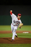 Auburn Doubledays relief pitcher Gabe Klobosits (31) delivers a pitch during a game against the State College Spikes on August 21, 2017 at Falcon Park in Auburn, New York.  Auburn defeated State College 6-1.  (Mike Janes/Four Seam Images)