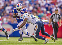 21 September 2014: Buffalo Bills running back C.J. Spiller gains six yards in the first quarter against the San Diego Chargers at Ralph Wilson Stadium in Orchard Park, NY. The Chargers defeated the Bills 22-10 in AFC play. Mandatory Credit: Ed Wolfstein Photo *** RAW (NEF) Image File Available ***