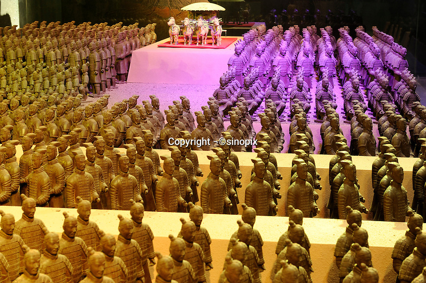 Terracotta Warriors made of chocolate at the Chocolate Wonderland in Beijing. Located on the north side of the Bird's Nest Olympic Stadium, the theme park will be the first chocolate theme park in China which is consisted of five indoor halls, including the World's Chocolate Hall, World's Candy Hall, Wonderland Theme Hall, Sweet Experience Hall and Sweet Gift Hall, and the outdoor activity areas of Sweet Stages and Sweet Shopping Street..22 Jan 2010
