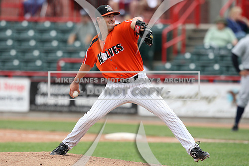 Erie Seawolves Pitcher Cory Hamilton (43) during a game vs. the Trenton Thunder at Jerry Uht Park in Erie, Pennsylvania;  June 24, 2010.   Trenton defeated Erie 11-2  Photo By Mike Janes/Four Seam Images