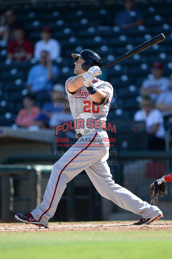 Mesa Solar Sox outfielder Steven Souza (20), of the Washington Nationals organization, during an Arizona Fall League game against the Peoria Javelinas on October 16, 2013 at Surprise Stadium in Surprise, Arizona.  Mesa defeated Peoria 3-1.  (Mike Janes/Four Seam Images)