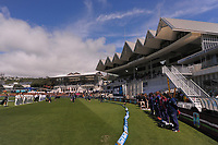 The teams sing the national anthems during day one of the International Test Cricket match between the New Zealand Black Caps and West Indies at the Basin Reserve in Wellington, New Zealand on Friday, 11 December 2020. Photo: Dave Lintott / lintottphoto.co.nz