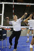 Omaha, NE - DECEMBER 20:  Head coach John Dunning of the Stanford Cardinal during Stanford's 2008 NCAA Division I Women's Volleyball Final Four Championship closed practice before playing the Penn State Nittany Lions on December 20, 2008 at the Qwest Center in Omaha, Nebraska.