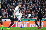 Kalidou Koulibaly of SSC Napoli competes for the ball with Karim Benzema of Real Madrid during the match of Champions League between Real Madrid and SSC Napoli  at Santiago Bernabeu Stadium in Madrid, Spain. February 15, 2017. (ALTERPHOTOS)