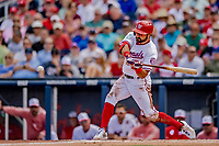 7 March 2019: Washington Nationals outfielder Adam Eaton tees up a solo home run in the 3rd inning of a Spring Training Game against the New York Mets at the Ballpark of the Palm Beaches in West Palm Beach, Florida. The Nationals defeated the visiting Mets 6-4 in Grapefruit League, pre-season play. Mandatory Credit: Ed Wolfstein Photo *** RAW (NEF) Image File Available ***