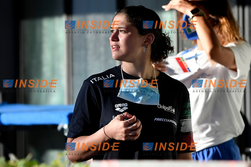 Benedetta Pilato of Italy reacts prior to compete in the women 50m breaststroke during the 58th Sette Colli Trophy International Swimming Championships at Foro Italico in Rome, June 26th, 2021. Benedetta Pilato placed first.