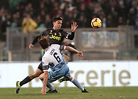 Football, Serie A: S.S. Lazio - Juventus, Olympic stadium, Rome, January 27, 2019. <br /> Juventus' Paulo Dybala (in front of) in action with Lazio's Lucas Leiva Pezzini (l) during the Italian Serie A football match between S.S. Lazio and Juventus at Rome's Olympic stadium, Rome on January 27, 2019.<br /> UPDATE IMAGES PRESS/Isabella Bonotto