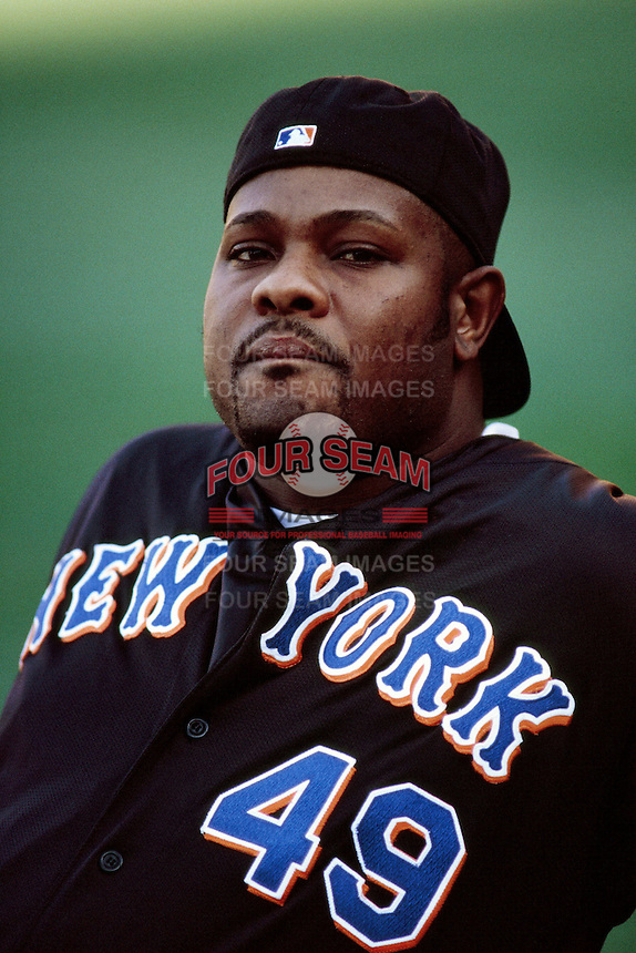 Armando Benitez of the New York Mets during a game against the Los Angeles Dodgers at Dodger Stadium circa 1999 in Los Angeles, California. (Larry Goren/Four Seam Images)