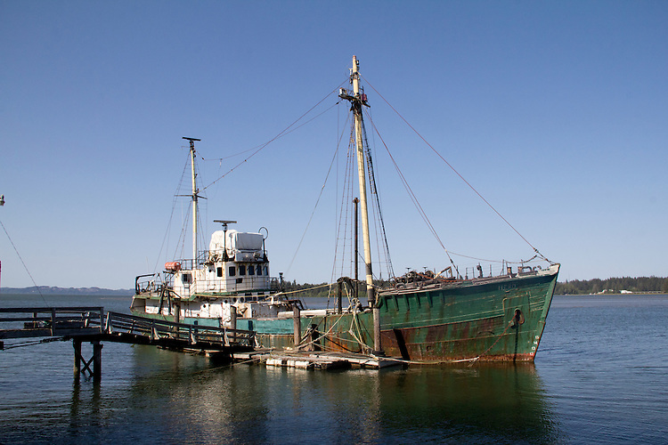 Willapa Bay, Bay Center, fishing vessel Hero, MV Hero, old fishing trawler docked on the Palix River, Pacific County, Washington Coast, Washington State,