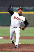 Rochester Red Wings pitcher Deinys Suarez #19 delivers a pitch during a game against the Lehigh Valley IronPigs at Frontier Field on August 18, 2011 in Rochester, New York.  Lehigh Valley defeated Rochester 11-1.  (Mike Janes/Four Seam Images)