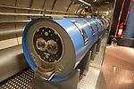 Exhibit showing a particle accelerator at CERN, (Conseil Européen pour la Recherche Nucléaire), the European Organization for Nuclear Research, Geneva, Switzerland