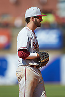 Dylan Busby (28) of the Florida State Seminoles on defense against the Louisville Cardinals in Game Eleven of the 2017 ACC Baseball Championship at Louisville Slugger Field on May 26, 2017 in Louisville, Kentucky. The Seminoles defeated the Cardinals 6-2. (Brian Westerholt/Four Seam Images)