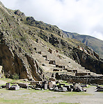 Incan hillside fortress at the town of Ollantaytambo in the Sacred Valley of the Incas. (Peru)