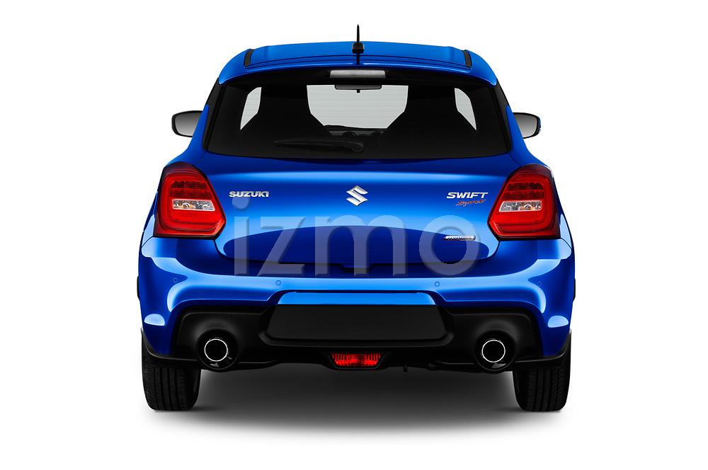 Straight rear view of 2020 Suzuki Swift-Sport Hybrid 5 Door Hatchback Rear View  stock images
