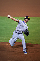 Salt River Rafters pitcher Brady Dragmire (33) delivers a pitch during an Arizona Fall League game against the Scottsdale Scorpions on October 15, 2015 at Scottsdale Stadium in Scottsdale, Arizona.  Scottsdale defeated Salt River 13-3.  (Mike Janes/Four Seam Images)