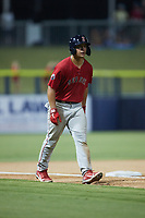 Nick Yorke (3) of the Salem Red Sox takes his lead off of third base against the Kannapolis Cannon Ballers at Atrium Health Ballpark on July 29, 2021 in Kannapolis, North Carolina. (Brian Westerholt/Four Seam Images)