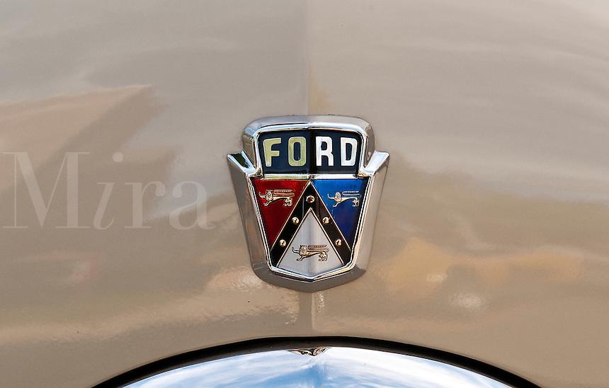 Classic Ford hood insignia.