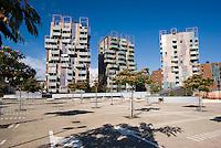 milano, quartiere portello. nuovo parcheggio del centro commerciale --- milan, portello district. new parking of the commercial centre
