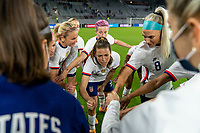 ORLANDO, FL - JANUARY 18: The USWNT huddles before a game between Colombia and USWNT at Exploria Stadium on January 18, 2021 in Orlando, Florida.