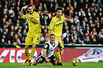 Rodrigo Moreno of Valencia CF (C) fights for the ball with Víctor Ruiz Torre of Villarreal CF (L) and Rodrigo Hernandez Cascante, Rodri, of Villarreal CF during the La Liga 2017-18 match between Valencia CF and Villarreal CF at Estadio de Mestalla on 23 December 2017 in Valencia, Spain. Photo by Maria Jose Segovia Carmona / Power Sport Images