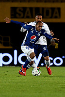 BOGOTÁ - COLOMBIA, 28–02-2019: Juan Pérez de Millonarios disputa el balón con Edisson Restrepo de Unión Magdalena, durante partido de la fecha 7 entre Millonarios y Unión Magdalena, por la Liga Águila I 2019, jugado en el estadio Nemesio Camacho El Campín de la ciudad de Bogotá. / Juan Pérez of Millonarios vies for the ball with Edisson Restrepo of Union Magdalena, during a match of the 7th date between Millonarios and Union Magdalena, for the Aguila Leguaje I 2019 played at the Nemesio Camacho El Campin Stadium in Bogota city, Photo: VizzorImage / Luis Ramírez / Staff.