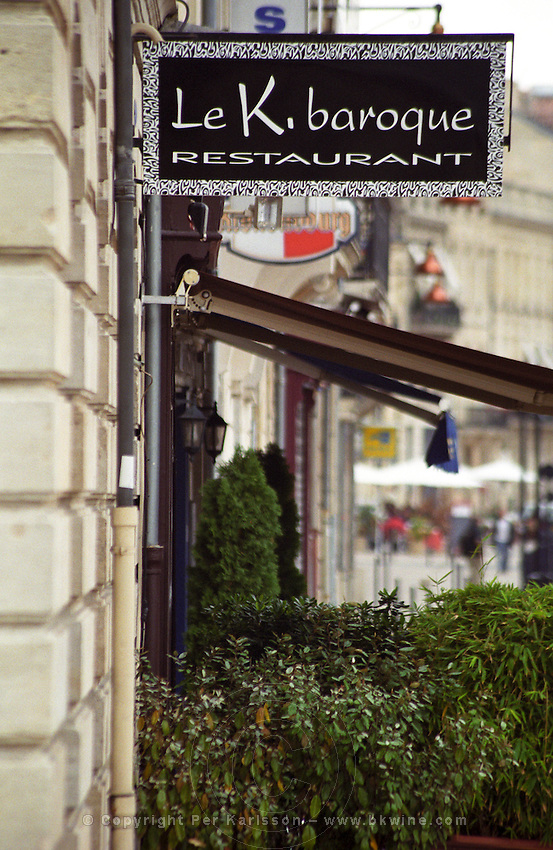 The sign to a trendy restaurant on the Quai des Chartrons called Le K. Baroque , Bordeaux, Aquitaine, France