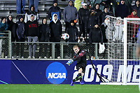 CARY, NC - DECEMBER 13: Andrew Thomas #1 of Stanford University kicks the ball during a game between Stanford and Georgetown at Sahlen's Stadium at WakeMed Soccer Park on December 13, 2019 in Cary, North Carolina.