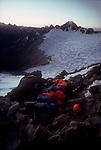 Climbing team, North Cascades National Park, National Outdoor Leadership School climbers, Cascade Mountains, Washington State, Pacific Northwest, U.S.A., Bivouac overnight North Ridge Forbidden Peak