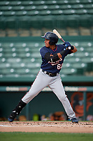 GCL Twins right fielder Erick Rivera (62) at bat during the first game of a doubleheader against the GCL Orioles on August 1, 2018 at CenturyLink Sports Complex Fields in Fort Myers, Florida.  GCL Twins defeated GCL Orioles 7-6 in the completion of a suspended game originally started on July 31st, 2018.  (Mike Janes/Four Seam Images)