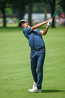 4th July 2021, Detroit, MI, USA;  Joaquin Niemann (CHL) watches his approach shot on 2 during the Rocket Mortgage Classic Rd4 at Detroit Golf Club on July 4,