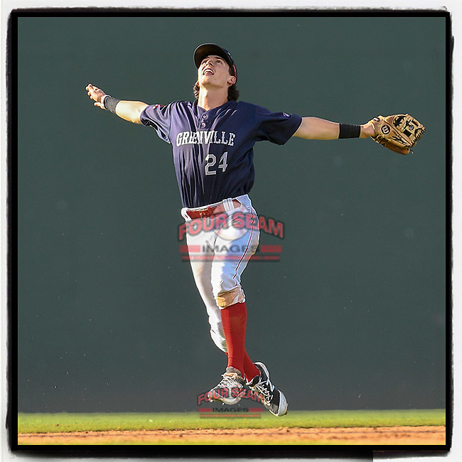 Ryan Fitzgerald (24) of the Greenville Drive calls for a pop fly in Game 1 of a doubleheader against the Rome Braves on Friday, August 3, 2018, at Fluor Field at the West End in Greenville, South Carolina. Rome won, 7-6. (Tom Priddy/Four Seam Images)