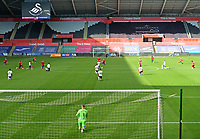 Players take to the knee in the Black Lives Matter movement<br /> <br /> Photographer Ian Cook/CameraSport<br /> <br /> The EFL Sky Bet Championship - Swansea City v Huddersfield Town - Saturday 17th October 2020 - Liberty Stadium - Swansea<br /> <br /> World Copyright © 2020 CameraSport. All rights reserved. 43 Linden Ave. Countesthorpe. Leicester. England. LE8 5PG - Tel: +44 (0) 116 277 4147 - admin@camerasport.com - www.camerasport.com