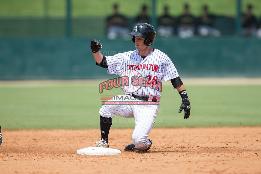 Grant Massey (28) of the Kannapolis Intimidators slides into second base after hitting a double during the game against the West Virginia Power at Kannapolis Intimidators Stadium on June 18, 2017 in Kannapolis, North Carolina.  The Intimidators defeated the Power 5-3 to win the South Atlantic League Northern Division first half title.  It is the first trip to the playoffs for the Intimidators since 2009.  (Brian Westerholt/Four Seam Images)