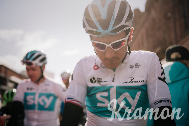 Geraint Thomas (GBR/SKY) on the start line<br /> <br /> Stage 6: Barrow-in-Furness to Whinlatter Pass   (168km)<br /> 15th Ovo Energy Tour of Britain 2018