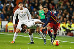 Real Madrid´s Danilo and James Rodriguez and Barcelona´s Neymar Jr during 2015-16 La Liga match between Real Madrid and Barcelona at Santiago Bernabeu stadium in Madrid, Spain. November 21, 2015. (ALTERPHOTOS/Victor Blanco)